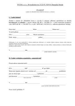 Žiadosť o prijatie do základného kurzu obslúh
