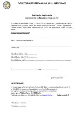 Žiadosť o pridelenie zodpovednostnej značky
