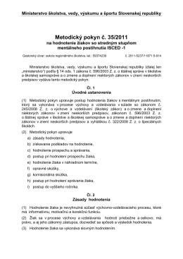 Metodický pokyn č. 35-2011 na hodnotenie žiakov so