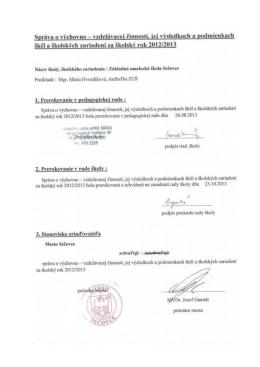Hodnotiaca správa - Základná umelecká škola Sečovce
