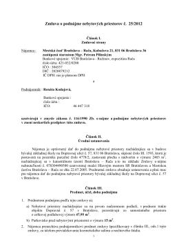 Zmluva o podnájme nebytových priestorov č. 25/2012