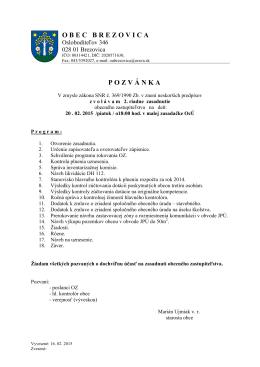 Pozvánka na rokovanie OZ