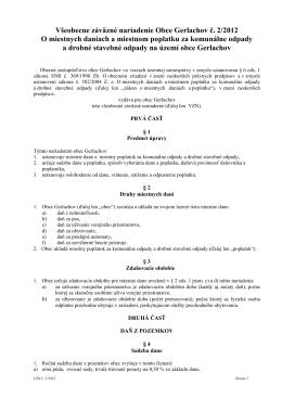 VZN č. 2/2012 O miestnych daniach a miestnom