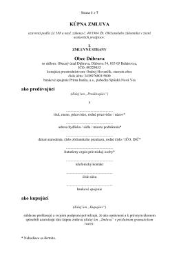 P. č. 325/14 Návrh kúpnej zmluvy