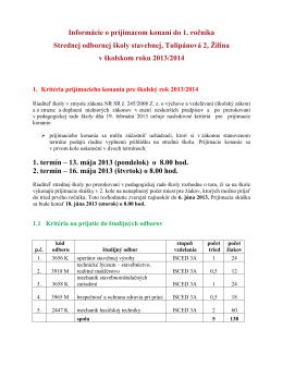 Informácie o prijímacom konaní do 1. ročníka Strednej odbornej