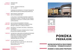 prenájom - Slovenské komorné divadlo