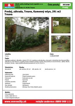 Predaj, záhrada, Trnava, Kamenný mlyn, 291 m2 Trnava