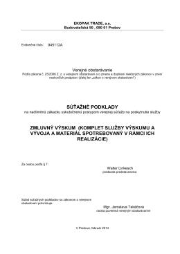 súťažné podklady zmluvný výskum (komplet služby výskumu a
