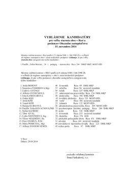Vyhlásenie kandidatúry pre voľby starostu obce v Reci