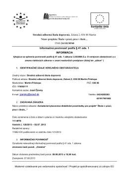 Informačná povinnosť podľa § 41 ods. 1 - SOŠD Martin