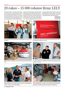 20 rokov – 15 000 robotov firmy LELY