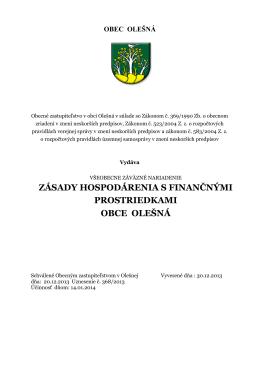 VZN o finančnom hospodárení obce Olešná