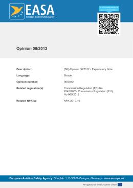 Opinion 06/2012 - EASA