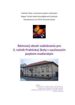 Rámcový obsah vzdelávania pre 3. ročník Praktickej školy s