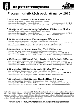 Vtáčnik 1346 m nm - Klub Priateľov Turistiky Galanta