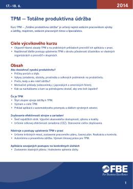 TPM — Totálne produktívna údržba 2014