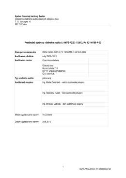 Predbežná správa z vládneho auditu - rezerva