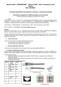 Technická špecifikácia účastnického rozhrania Marek