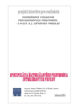 Špecifikácia materiálov interierových prvkov