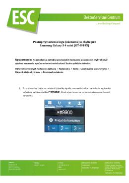 Postup vytvorenia logu (záznamu) o chybe pre Samsung