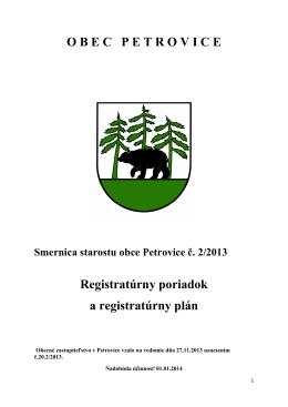 Smernica starostu obce Petrovice č 2-2013