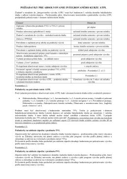 Požiadavky pred zaradením do integrovaného výcviku