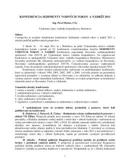 Konferencia SEDIMENTY VODNÝCH TOKOV A NÁDRŽÍ