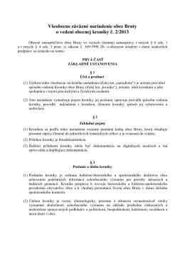 VZN o vedení obecnej kroniky č. 2/2013