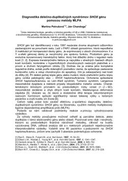 Diagnostika delečno-duplikačných syndrómov SHOX