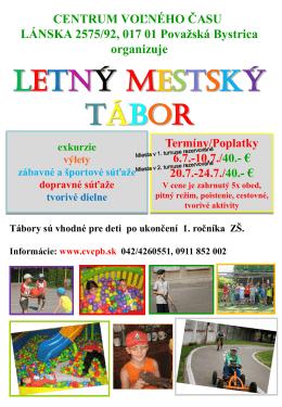 LETNÝ MESTSKÝ TÁBOR - Centrum voľného času Považská Bystrica
