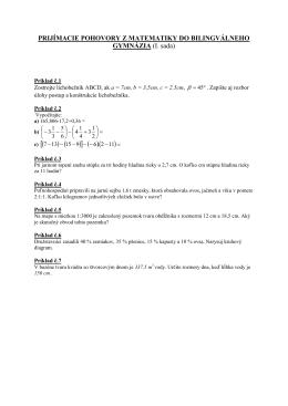 Prijímacie skúšky z matematiky v predchádzajúcich rokoch