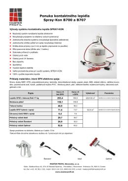 Ponuka kontaktného lepidla Spray-Kon B700 a B707