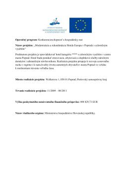 Operačný program: Konkurencieschopnosť a