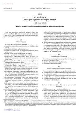 222/2013 Vyhláška Úradu pre reguláciu sieťových odvetví, ktorou sa