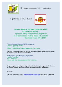 ZŠ, Námestie mládeže 587/17 vo Zvolene v spolupráci s HKM