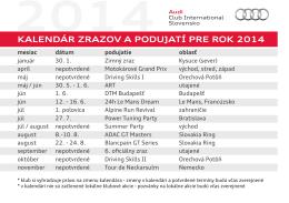 KALENDÁR ZRAZOV A PODUJATÍ PRE ROK 2014
