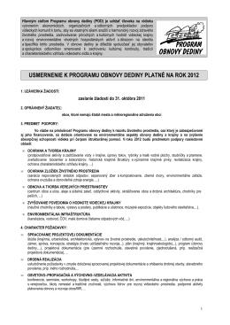 usmernenie k programu obnovy dediny platné na rok 2012
