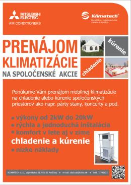na spoločenské akcie prenájom klimatizácie
