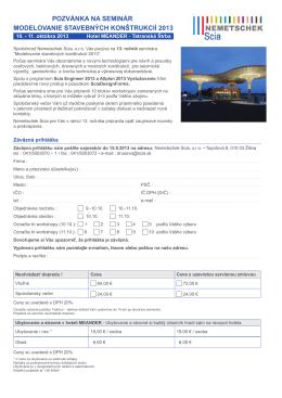 pozvánka na seminár modelovanie stavebných