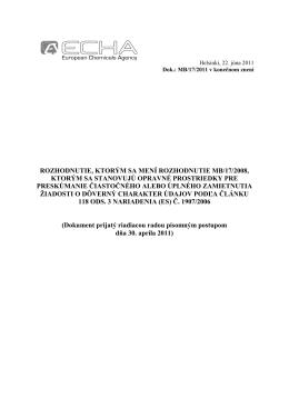 rozhodnutie, ktorým sa mení rozhodnutie mb/17/2008