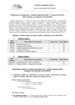 Kritériá prijímania žiakov pre školský rok 2014-2015