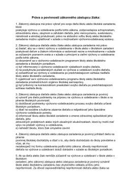 Práva a povinnosti zákonného zástupcu žiaka: