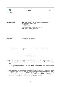 1 Bankové spojenie: OTP Banka Slovensko, a.s. IBAN
