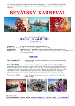 BENÁTSKY KARNEVAL - Cestovná agentúra Výletovo
