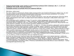 Prezentácia z Medzinárodnej konferencie poriadaná SOV pri