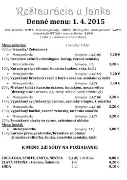 Denné menu - ujanka.sk