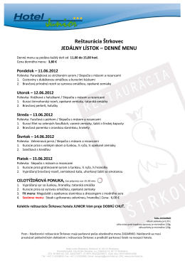 DENNÉ MENU - Hotel Junior