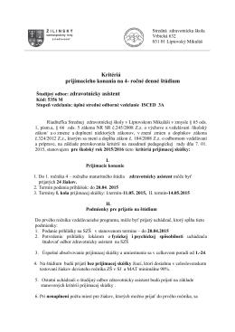 Kritériá prijímacieho konania na 4- ročné denné štúdium
