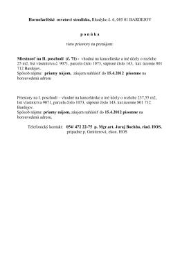 prenájom priestorov_ HOS - Hornošarišské osvetové stredisko