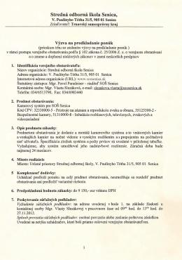Kamerový systém pre SOŠ Senica